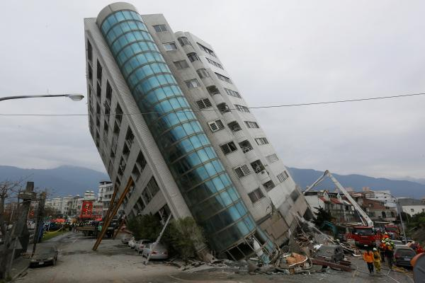 Death toll rises to nine in natural disaster  that toppled buildings in Taiwan